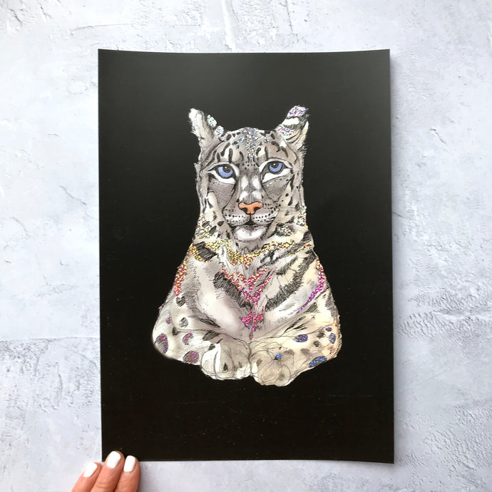 Snow Leopard A4 Foiled Art Print