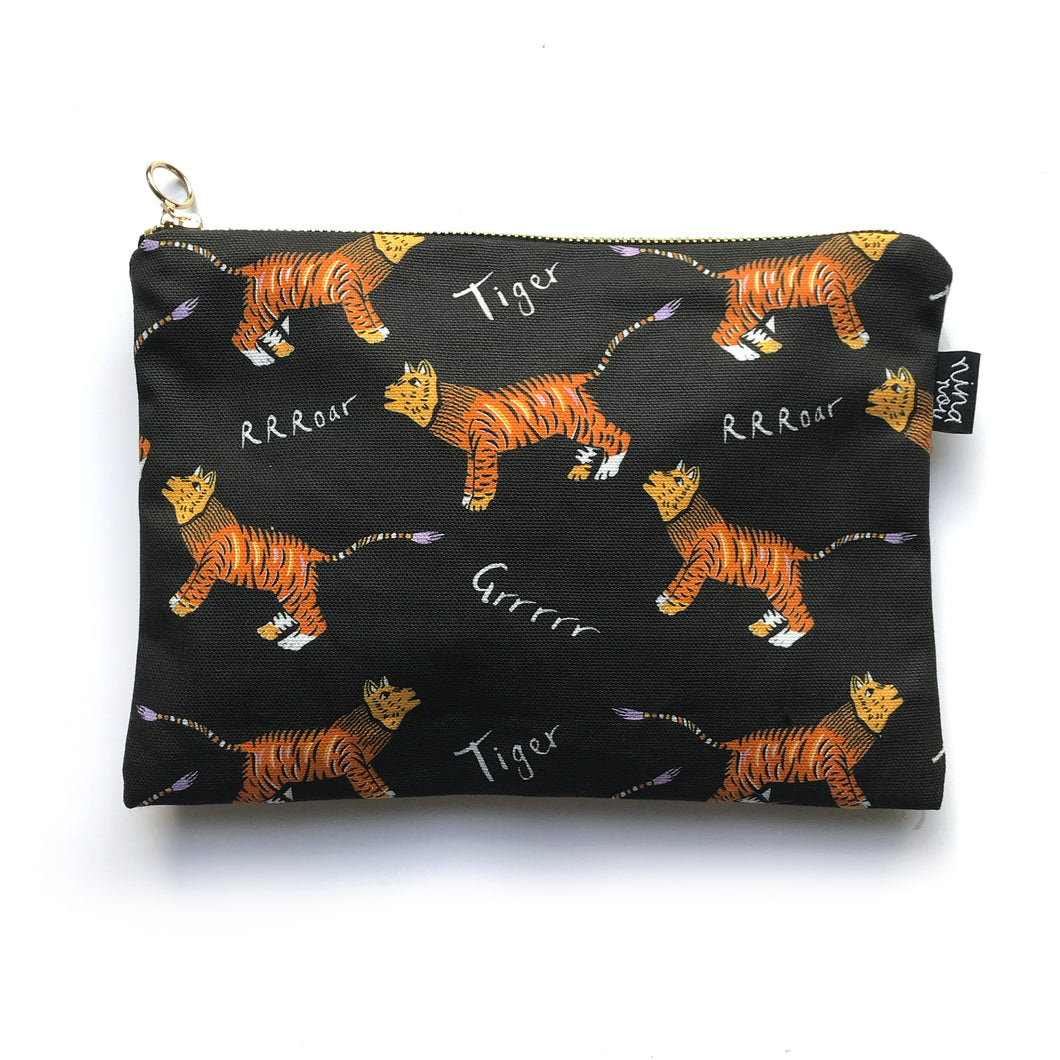 Tiger Print Zip up Bag