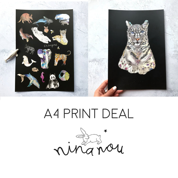 Any Two A4 Art Prints Gift Set