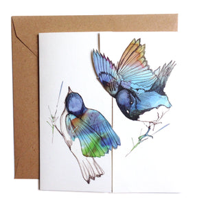 BlueBirds Kiss Card