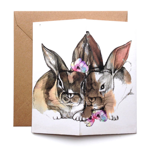 Little Rabbits Kiss Card