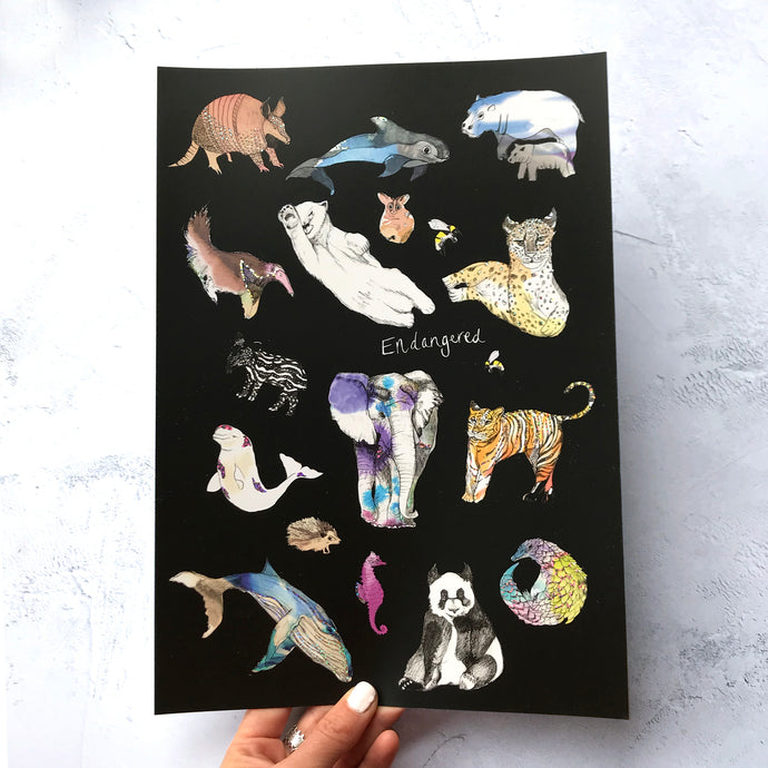 Endangered Animals A4 Foiled Art Print