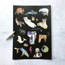 Endangered Animals Foiled Art Print