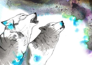 Howling Wolves A2 size Giclee Print