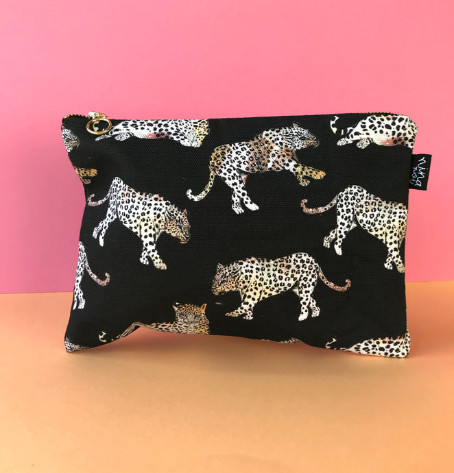 Black Night Leopard Cotton Pouch