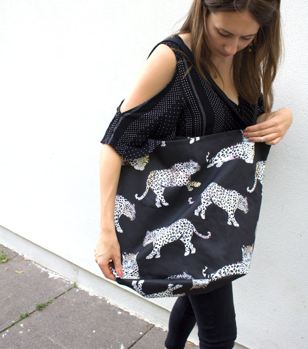 Black Night Leopard Tote Bag