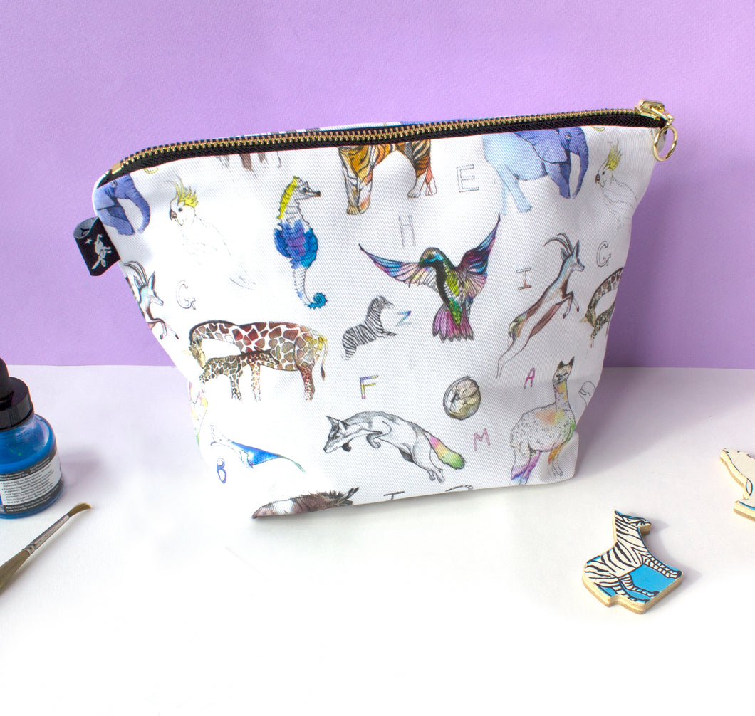 Animal Alphabet print Wash Bag