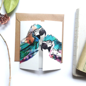Green Parrots Kiss Card
