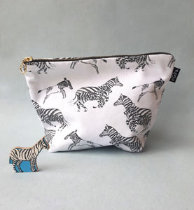 Black and White Zebras Cotton Wash Bag