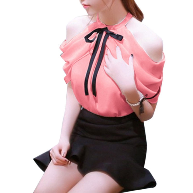 8836c9fd0fa288 ... Laamei Lace Blouses Women 2019 Hollow Out Sexy Tops V Neck Streetwear  ...