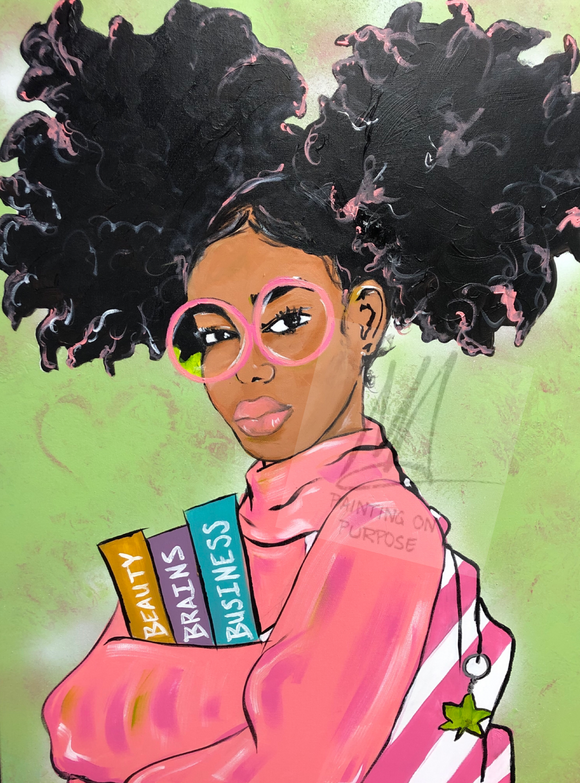 """Beauty & Books"" (Pink & Green)"