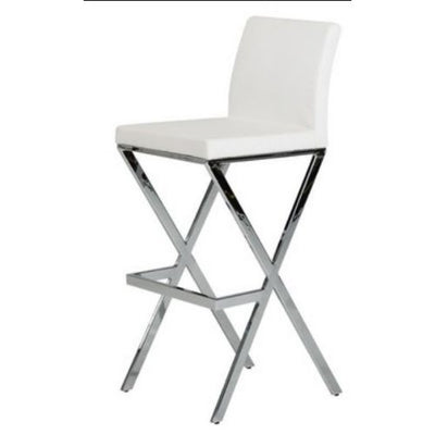 "41"" White Eco-Leather and Steel Bar Stool (Set of 2)"