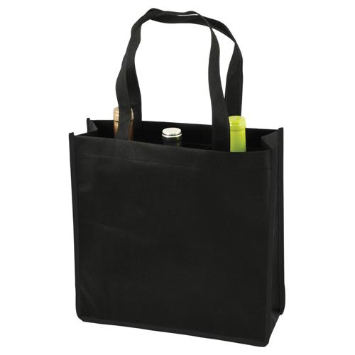 3 Bottle Non Woven Tote In Black By True Non-Woven Totes True Default Title