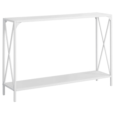 "12"" x 48"" x 32"" White, White, Mdf, Metal - Accent Table"
