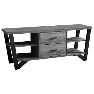 "15'.5"" x 60"" x 23"" Grey, Black, Particle Board, Hollow-Core, Metal - TV Stand With 2 Drawers"