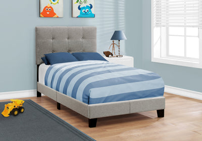 "45.75"" Solid Wood, MDF, Foam, and Linen Twin Size Bed"