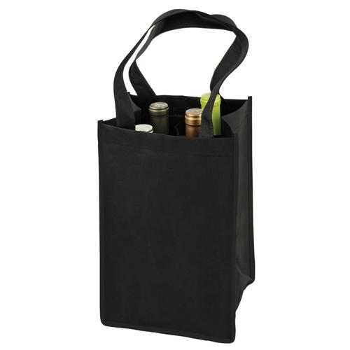 4 Bottle Non Woven Tote In Black By True Non-Woven Totes True Default Title