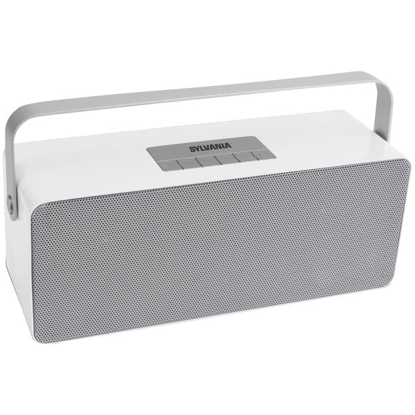 SYLVANIA SP672-WHITE Portable Bluetooth Speaker with Aluminum Handle (White)-Bluetooth Speakers-Unbox Shopping Network