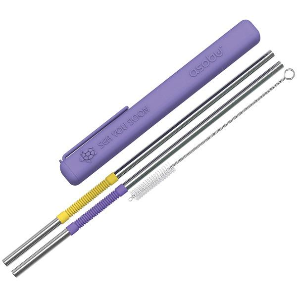 ASOBU PS2PURP Eco-Friendly Reusable Straws (Purple/Yellow) Beverage Bottles Asobu(R)