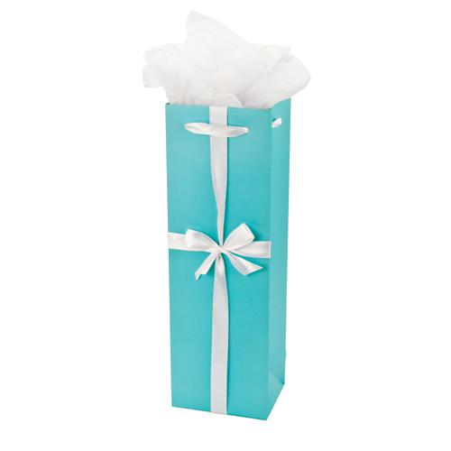 Audrey Turquoise Wine Gift Bag Single-Bottle Paper Wine Bags Cakewalk (Bags) Default Title