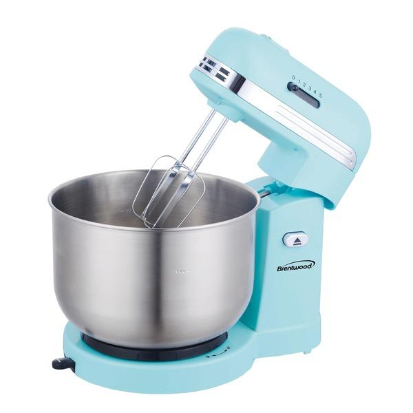 Brentwood Appliances SM-1162BL 5-Speed Stand Mixer with 3-Quart Stainless Steel Mixing Bowl (Blue) Mixers Brentwood(R) Appliances