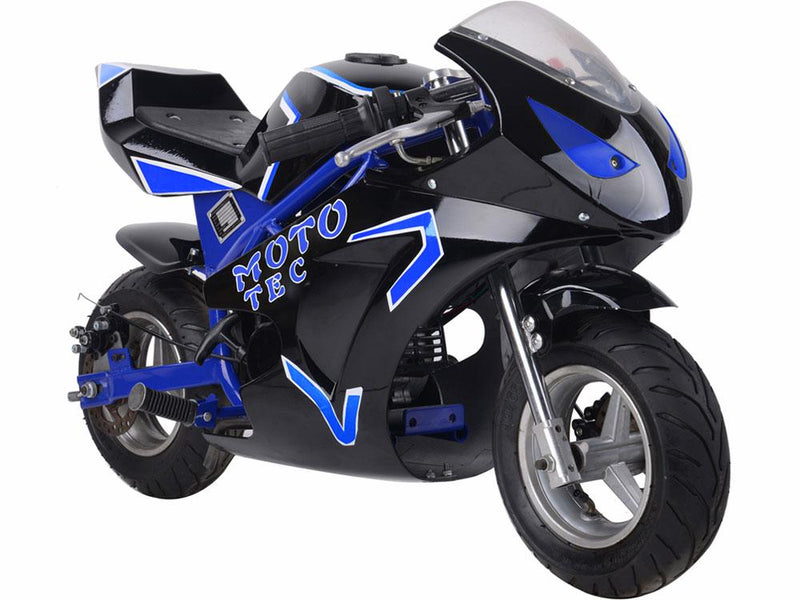 Gas Pocket Bike GT 49cc 2-stroke Blue Gas Riding Toy MotoTec