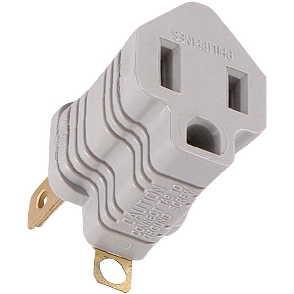 Ge 58900 Polarized Grounding Adapter Plug (Gray) Surge Protectors GE(R)