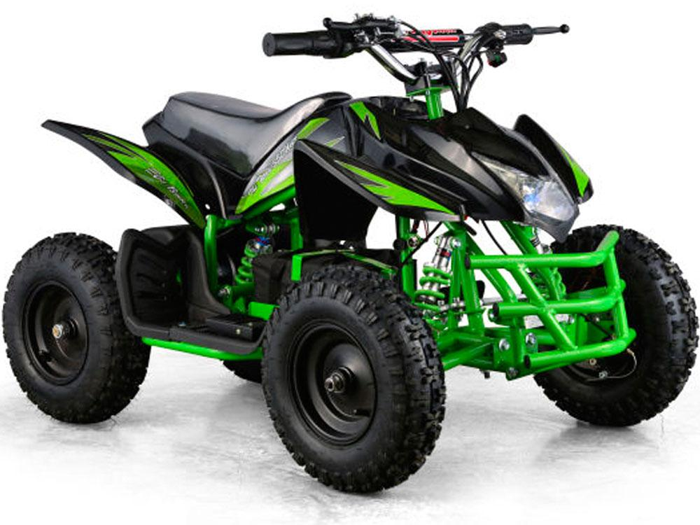 MotoTec 24v Kids ATV Titan v5 Black/Green Battery Operated Riding Toy Mototec