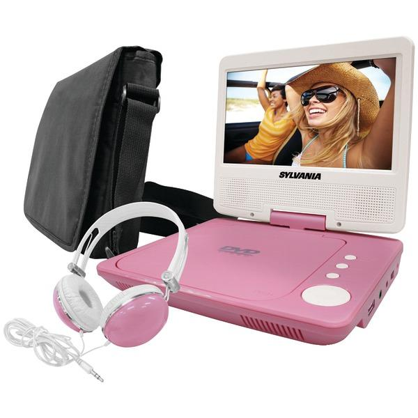 "Sylvania Sdvd7060-Combo-Pink 7"" Swivel-Screen Portable Dvd Player Bundle (Pink) DVD Players SYLVANIA(R)"