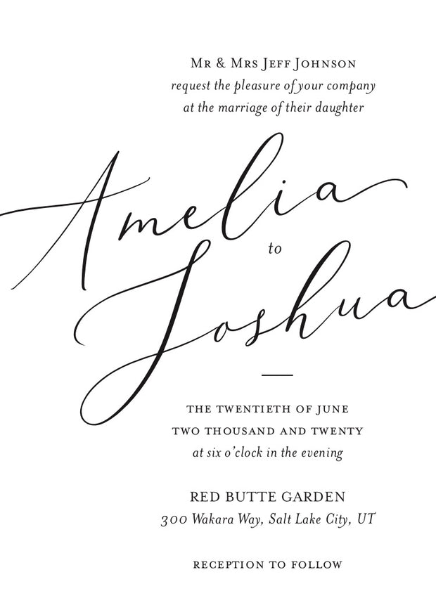 Cursive Wedding Invitation