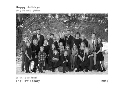 Happy Holidays – Simple Black and White – Horizontal