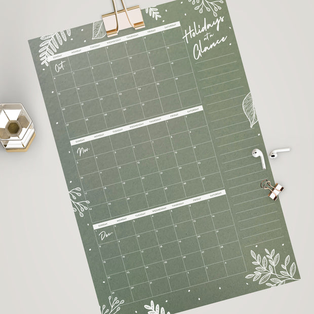 Holiday at a Glance Calendar with List