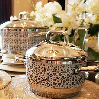 12-Piece Stainless Steel Patterned Cookware Set