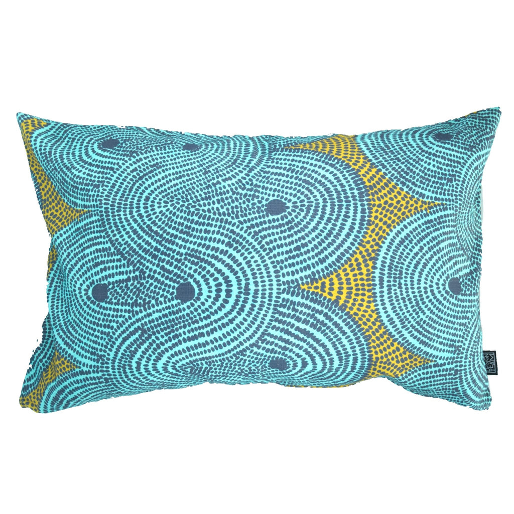 Aqua Crop Field Cushion Cover - Artisans Bloom