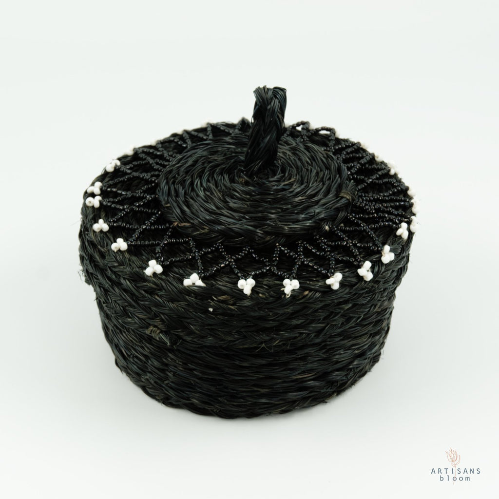 Beaded Basket - Black - Artisans Bloom