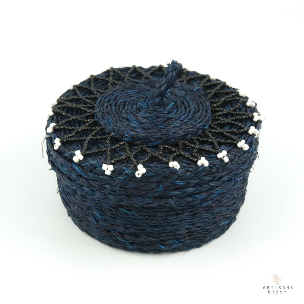 Beaded Basket - Indigo - Artisans Bloom