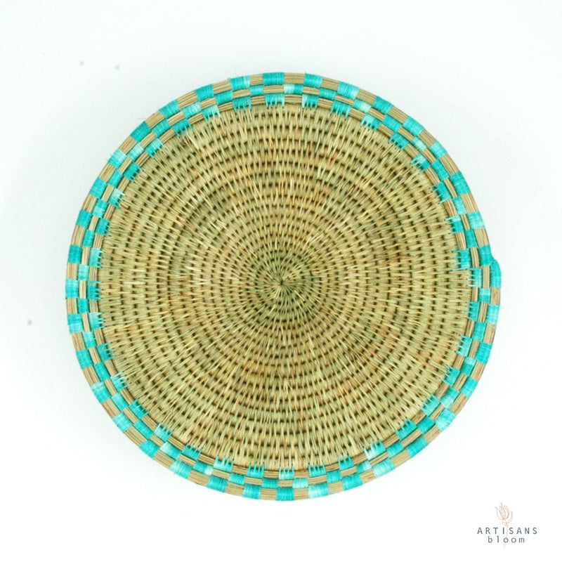 Block Weave Basket - Turquoise - Artisans Bloom