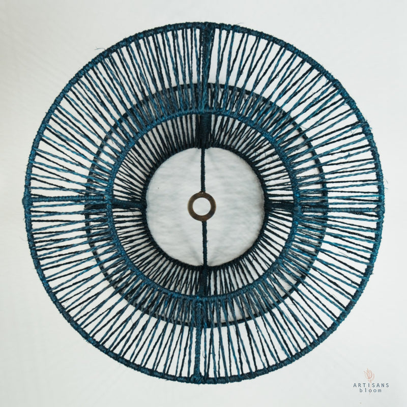 Criss-Cross Lamp Shade - Teal - Artisans Bloom