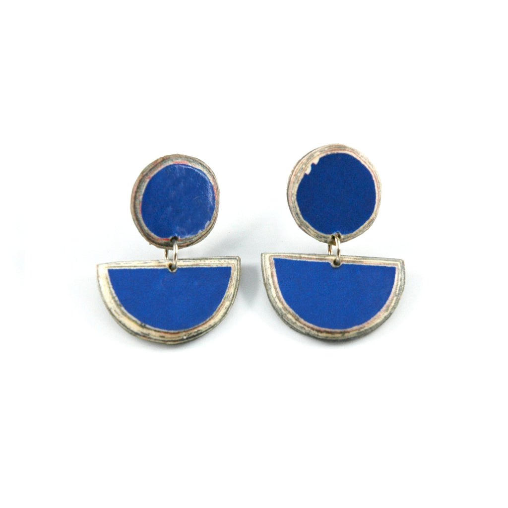 Disc Stud Earring - Blue - Artisans Bloom