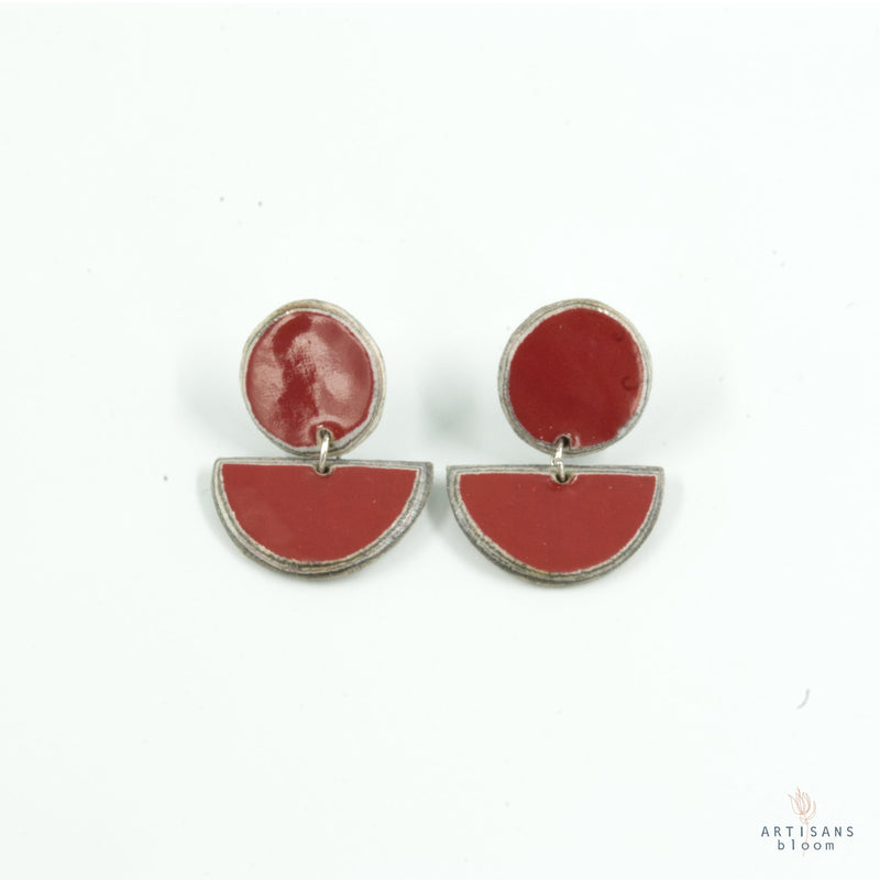 Disc Stud Earring - Burgandy - Artisans Bloom