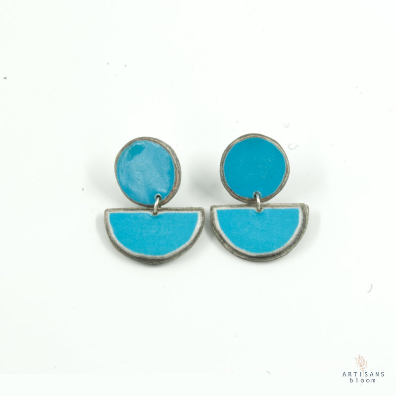 Disc Stud Earring - Capri Blue - Artisans Bloom