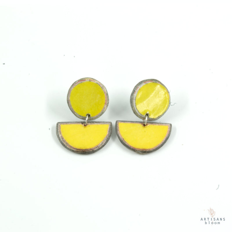 Disc Stud Earring - Yellow - Artisans Bloom