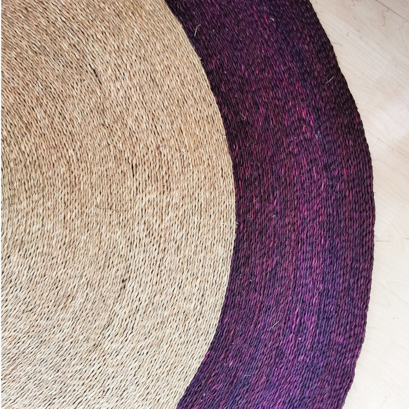 Grass Floor Mat - Plum Trim - Artisans Bloom