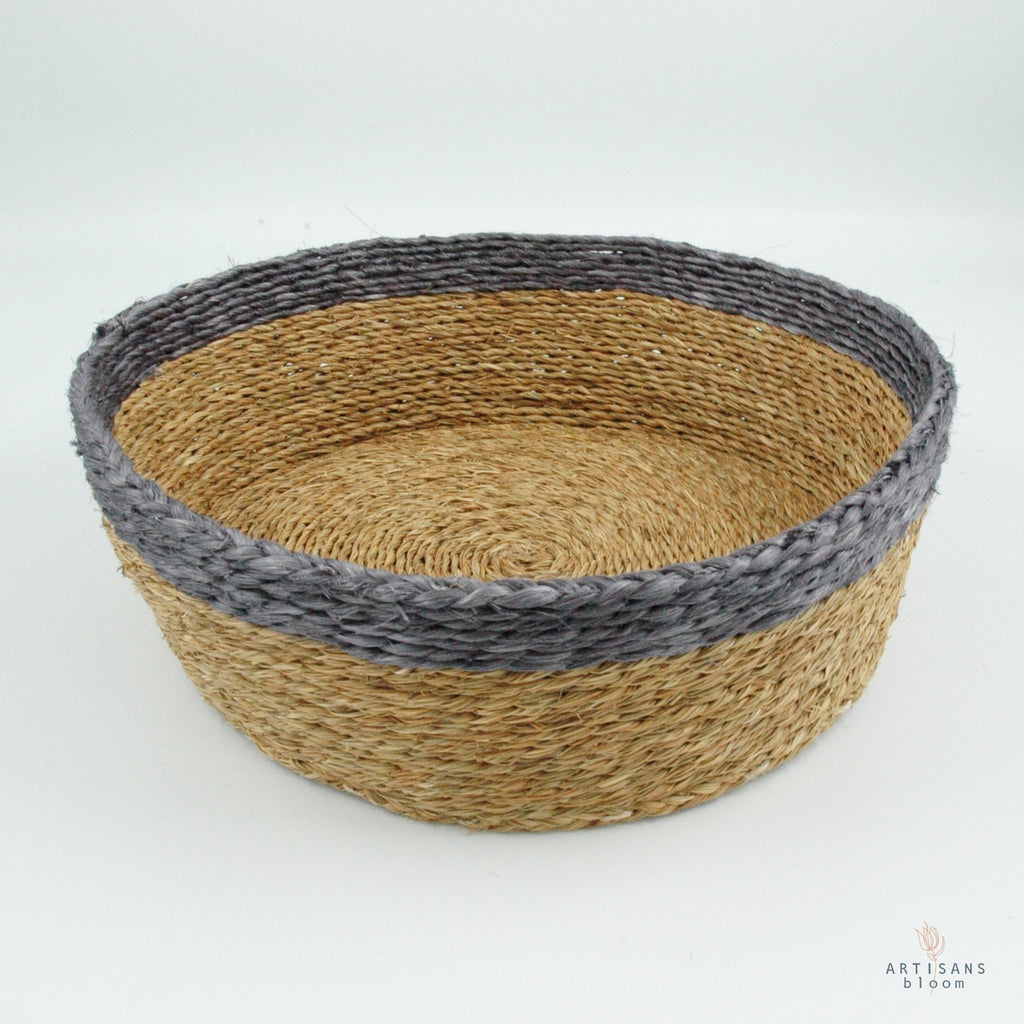 Grey Trim Basket -25cm - Artisans Bloom