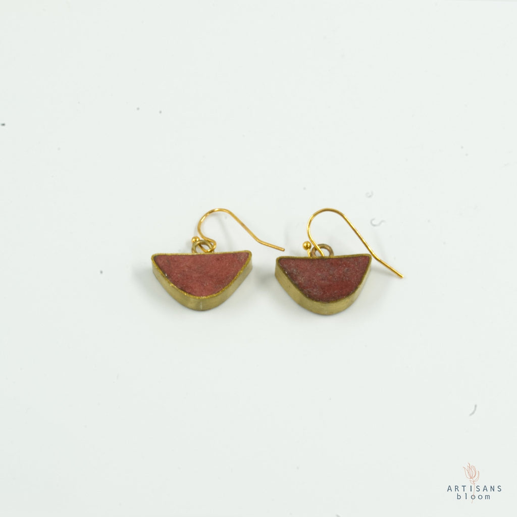 Half Circle Drop Earring - Coral - Artisans Bloom