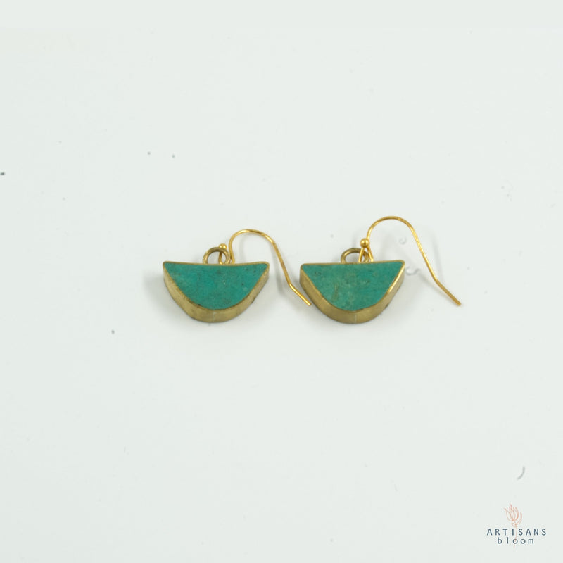 Half Circle Drop Earring - Turquoise - Artisans Bloom