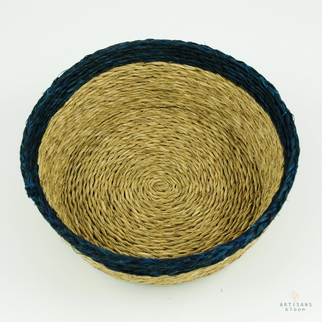 Indigo Trim Basket - 18cm - Artisans Bloom