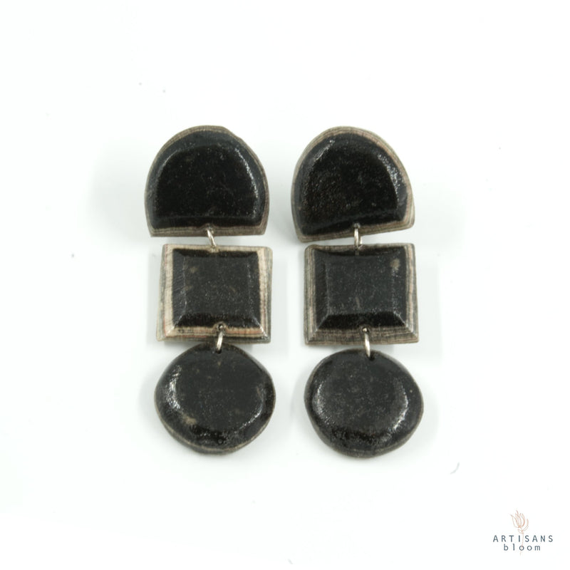 Lindiwe Pulp Earrings - Charcoal - Artisans Bloom