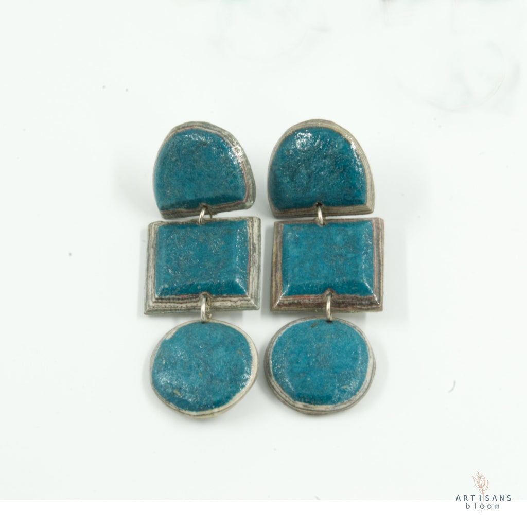 Lindiwe Pulp Earrings - Teal - Artisans Bloom