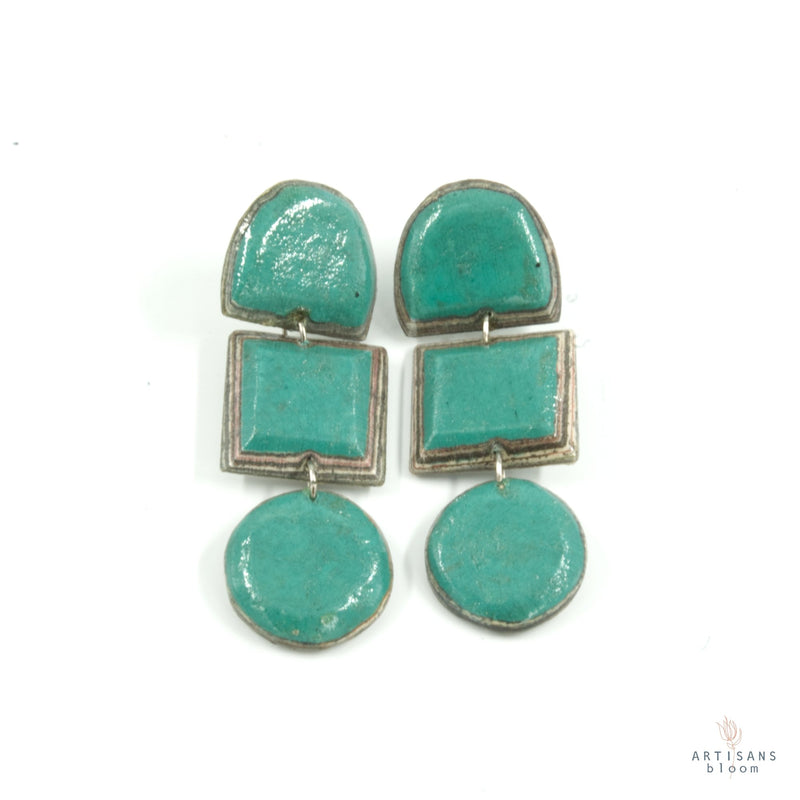 Lindiwe Pulp Earrings - Turquoise - Artisans Bloom